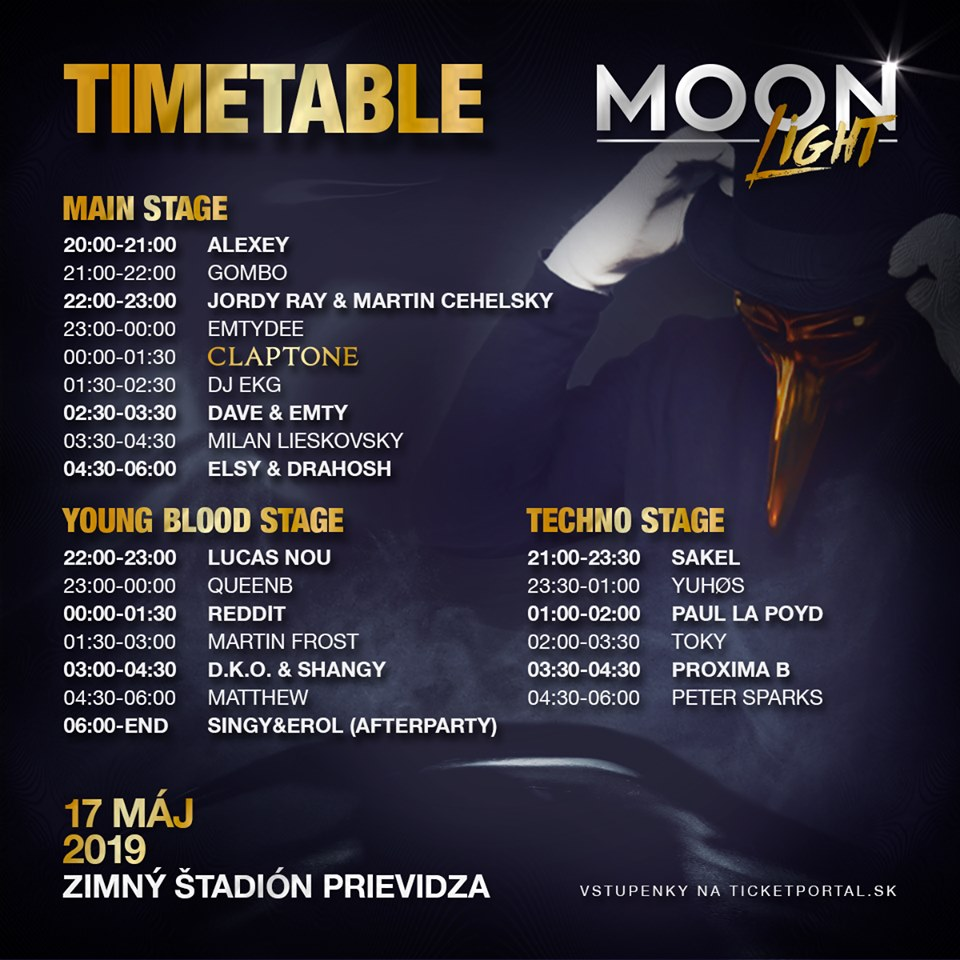 INE UP - Kompletný program - Timetable Moonlight 2019