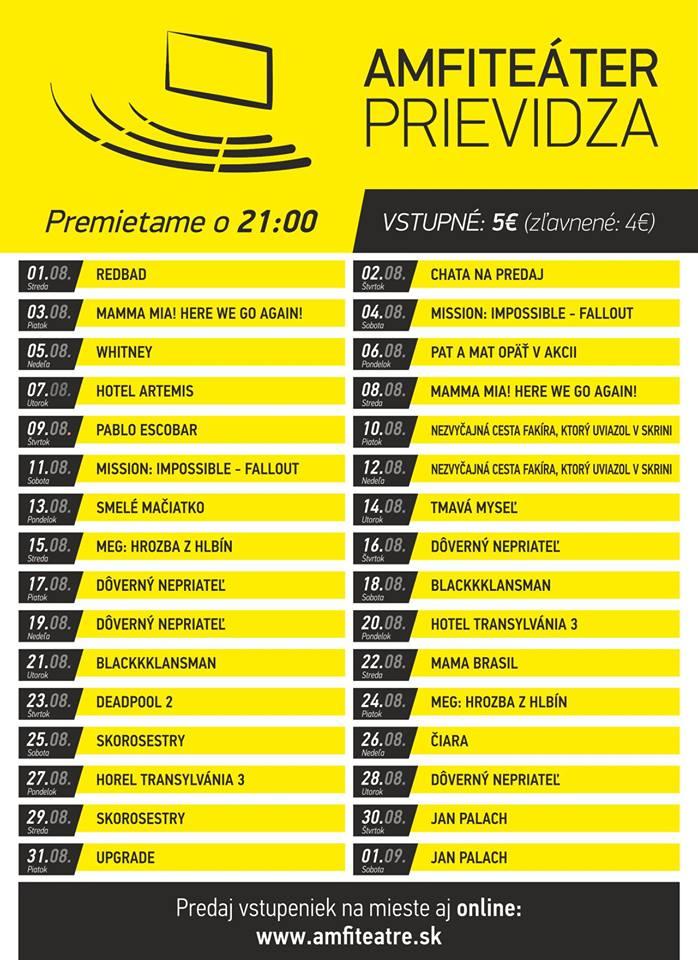 Letne kino - program august - Amfiteáter Prievidza