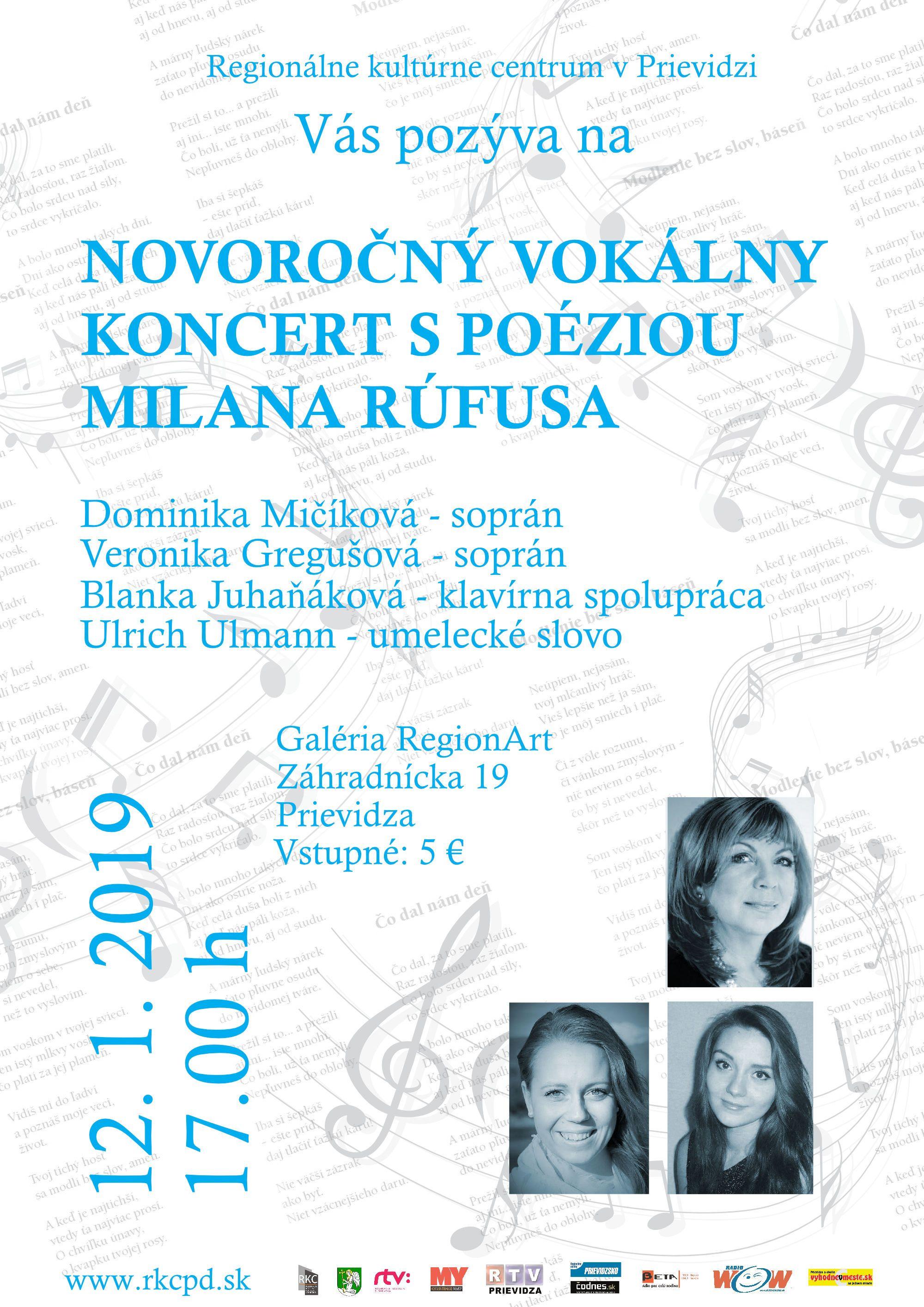 Novoročný vokálny koncert s poéziou Milana Rúfusa