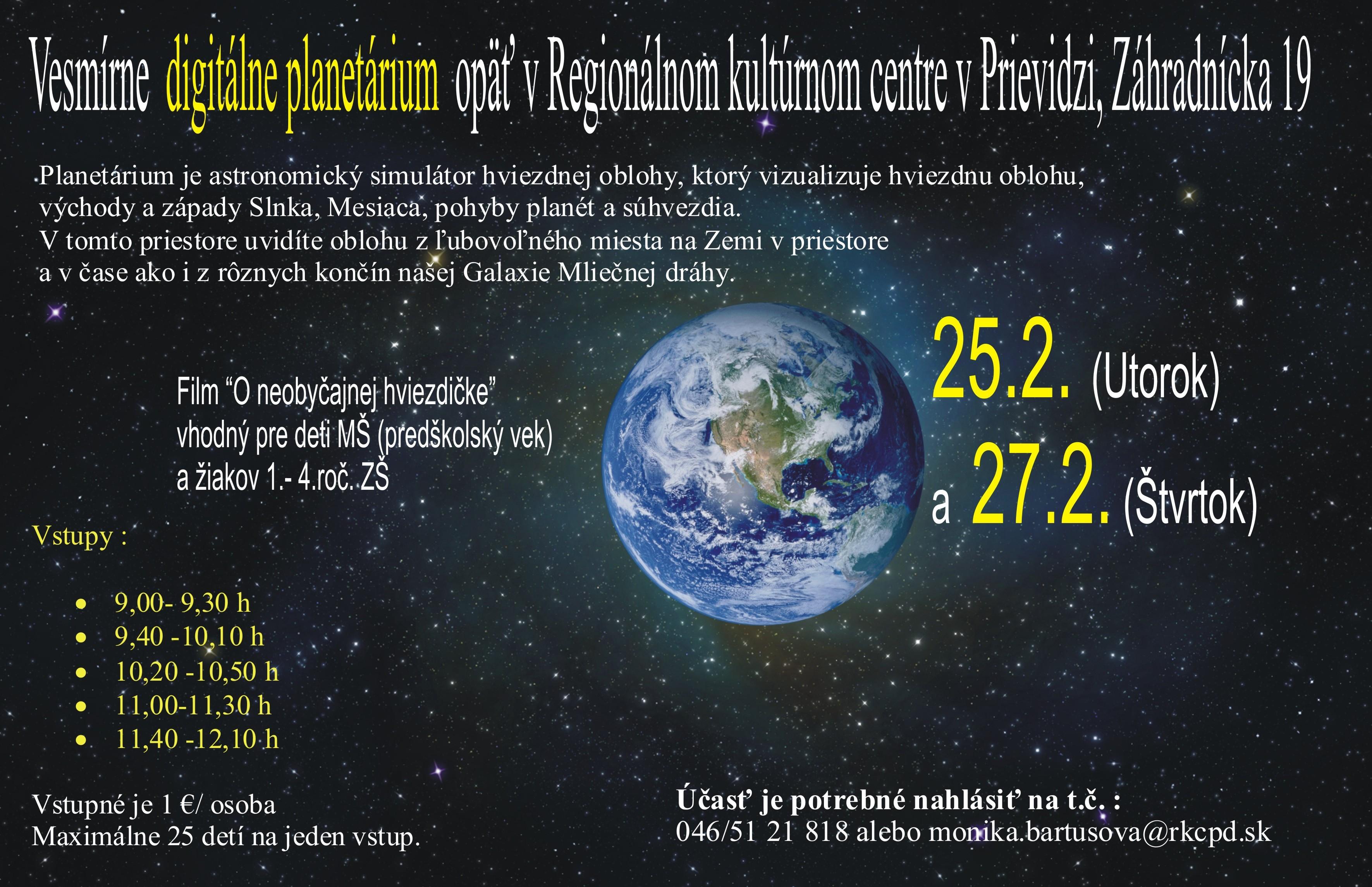 Digitálne planetárium - ponuka pre MŠ a 1. stup. ZŠ