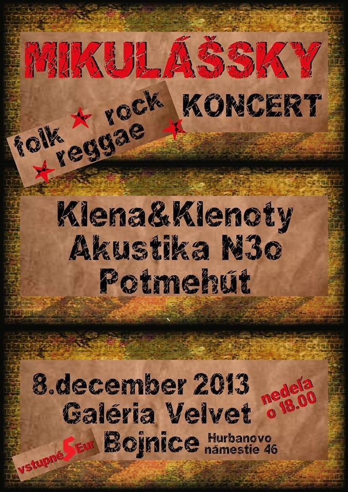 Mikulášsky folk - rock - reggae koncert