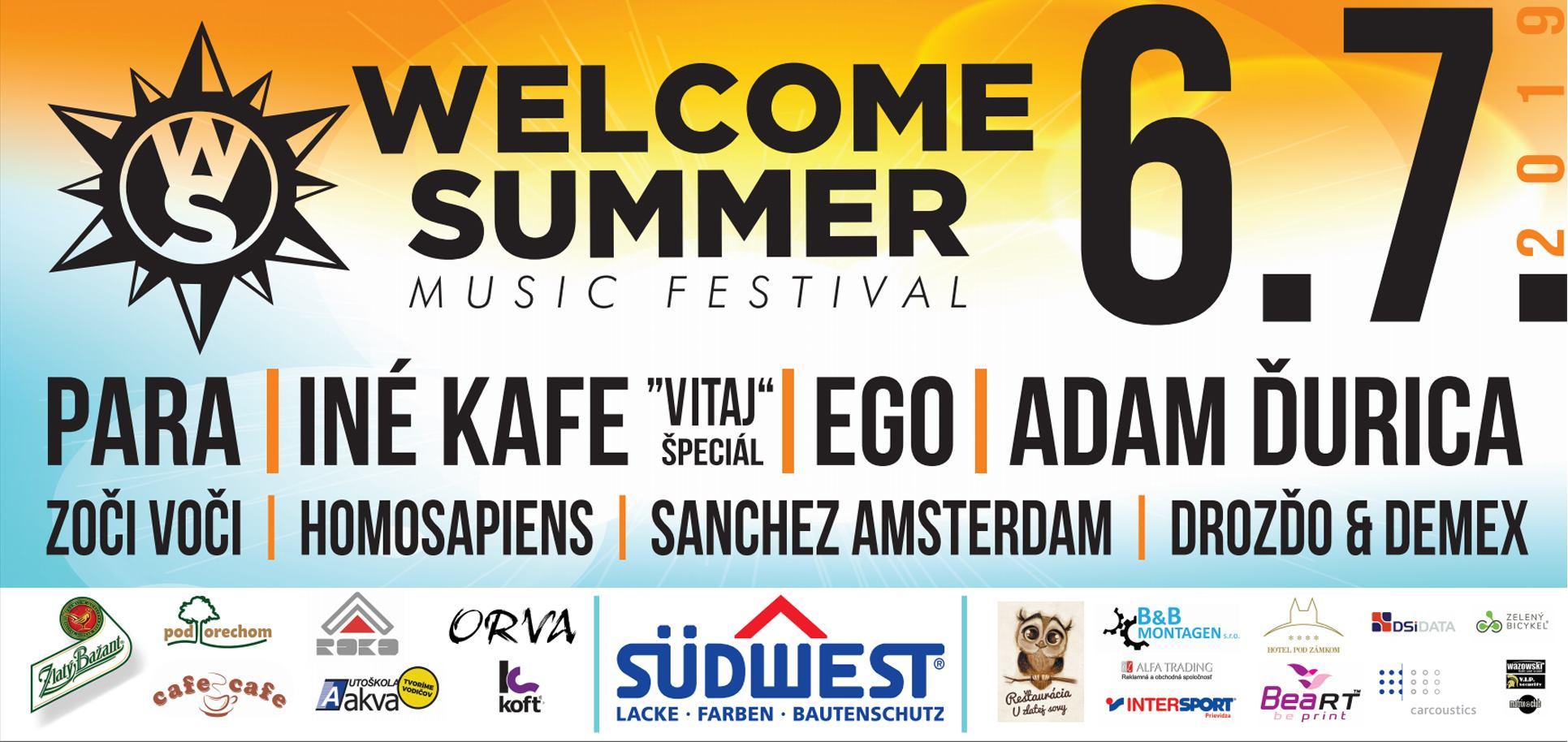 WELCOME SUMMER fest 2019  - Bojnice - kompletný program