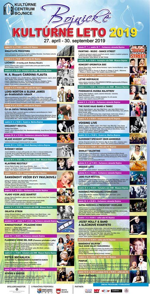 Bojnické kultúrne leto 2019 - všetky akcie