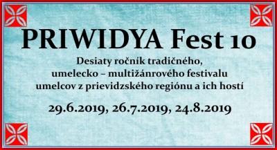 PRIWIDYA Fest 10 - 2. deň desiateho ročníka tradičného, umelecko – multižánrového festivalu