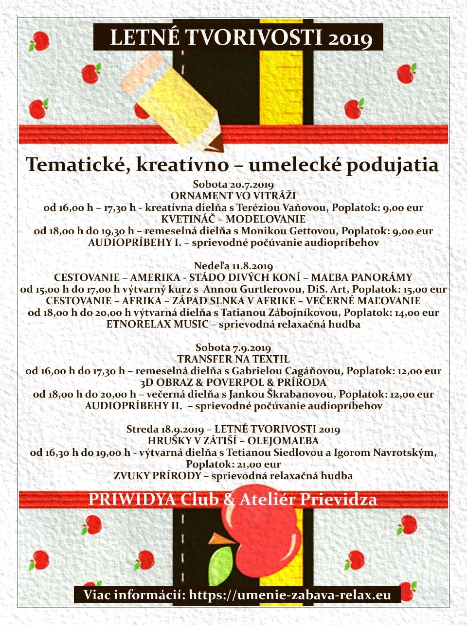LETNÉ TVORIVOSTI 2019 - Hrušky v zátiší - výtvarná dielňa s I. Navrotským a T. Siedlovou