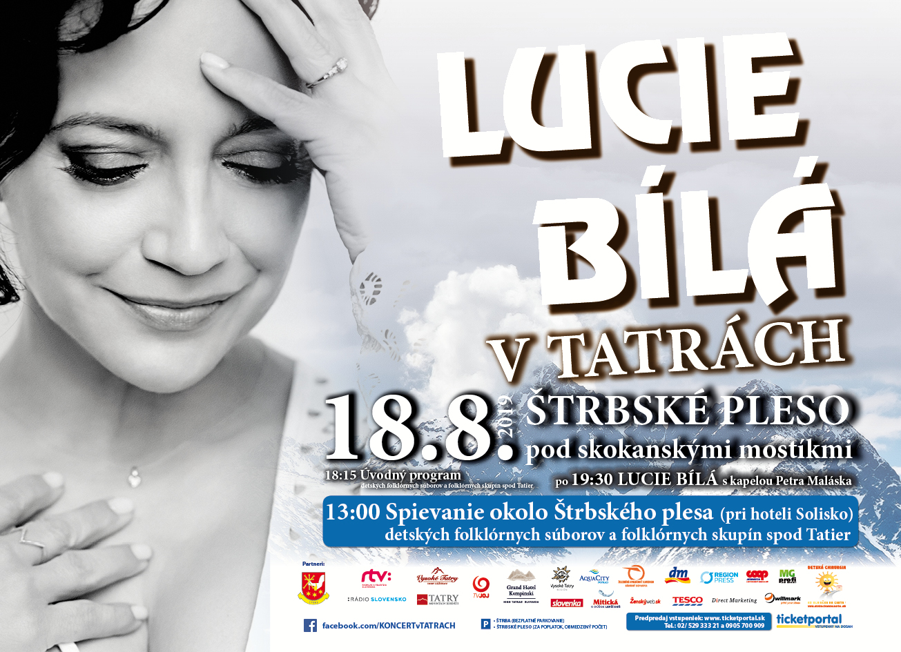 """""""Lucie Bílá v Tatrách"""" v nedeľu 18. 8. 2018 na Štrbskom Plese"""