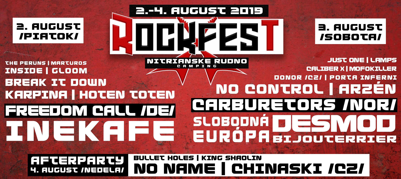 ROCKFEST NITRIANSKE RUDNO 2019 - kompletný program