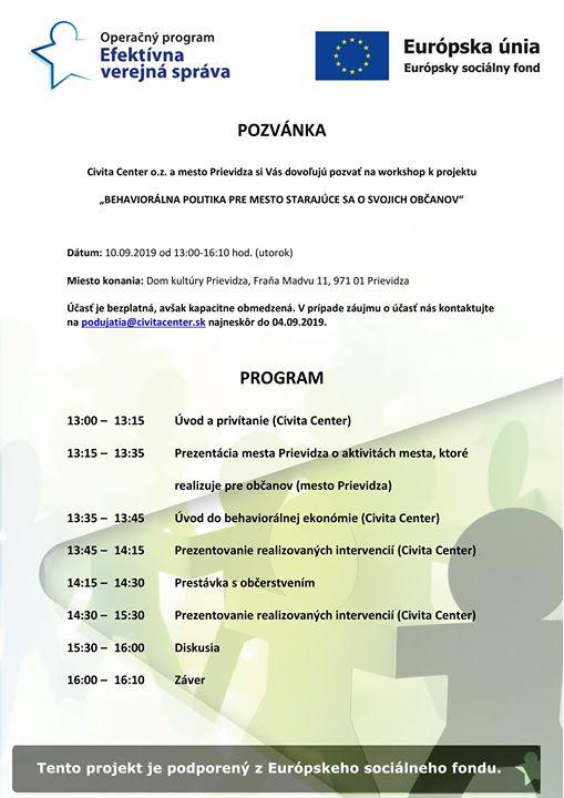 Workshop -Behaviorálna politika pre mesto starajúce sa o svojich občanov