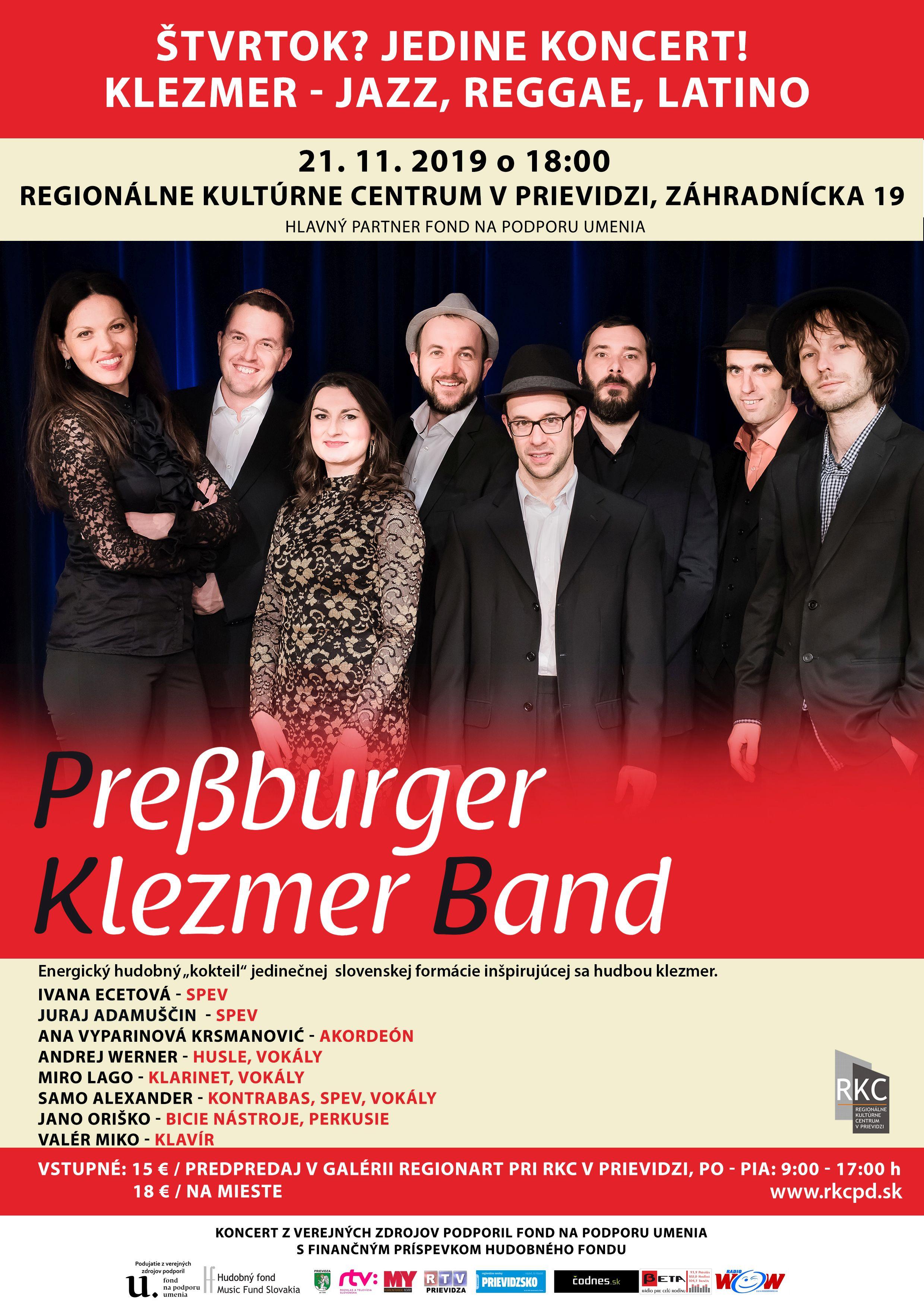 Štvrtok? Jedine koncert! klezmer - jazz, reggae, latino: Preßburger Klezmer Band