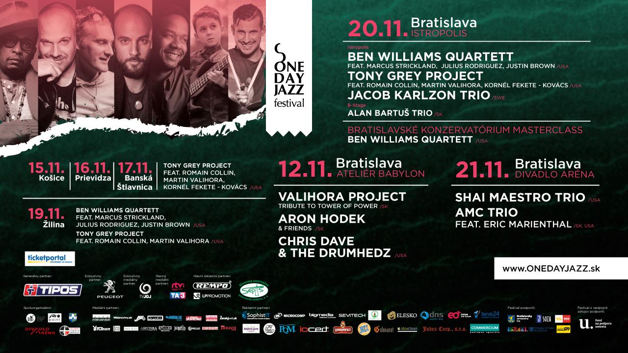 Otvárací koncert jesennej edície One Day Jazz Festivalu 2019 bude v réžii trojice Valihora – Hodek - Dave