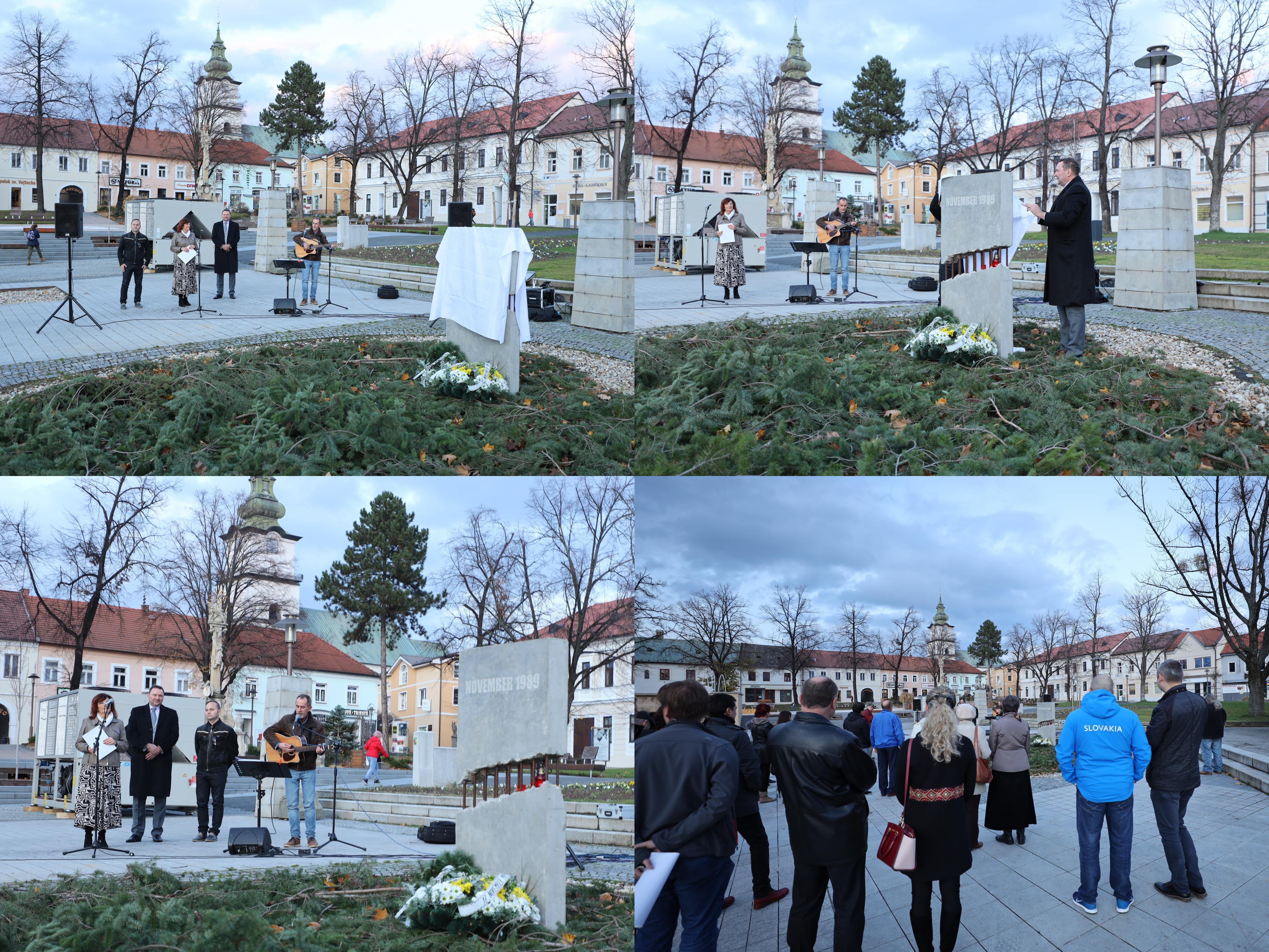 Foto a video: Slávnostné odhalenie pamätníka 30. výročia Novembra 1989 na Námestí Slobody v Prievidzi