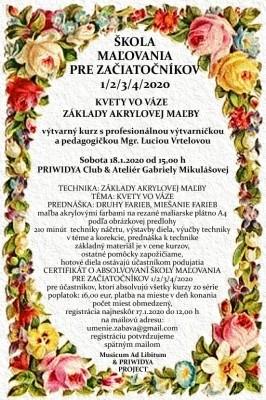 ŠKOLA MAĽOVANIA PRE ZAČIATOČNÍKOV 1/2/3/4/2020 - ZÁKLADY AKRYLOVEJ MAĽBY