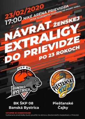 Basketbalová extraliga žien: BK ŠKP 08 Banská Bystrica - Piešťanské Čajky