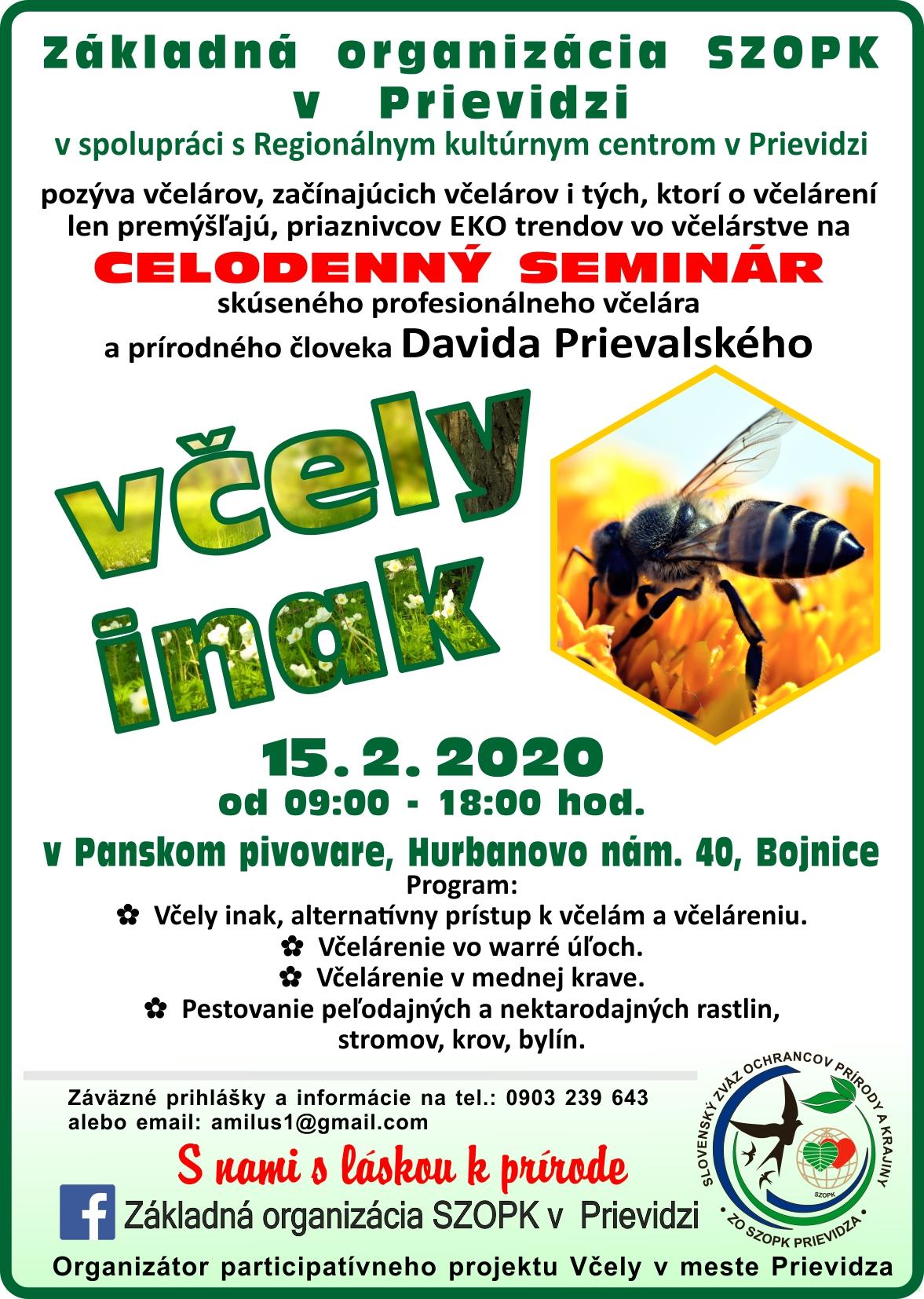 Včely inak - celodenný seminár s Davidom Prievalským