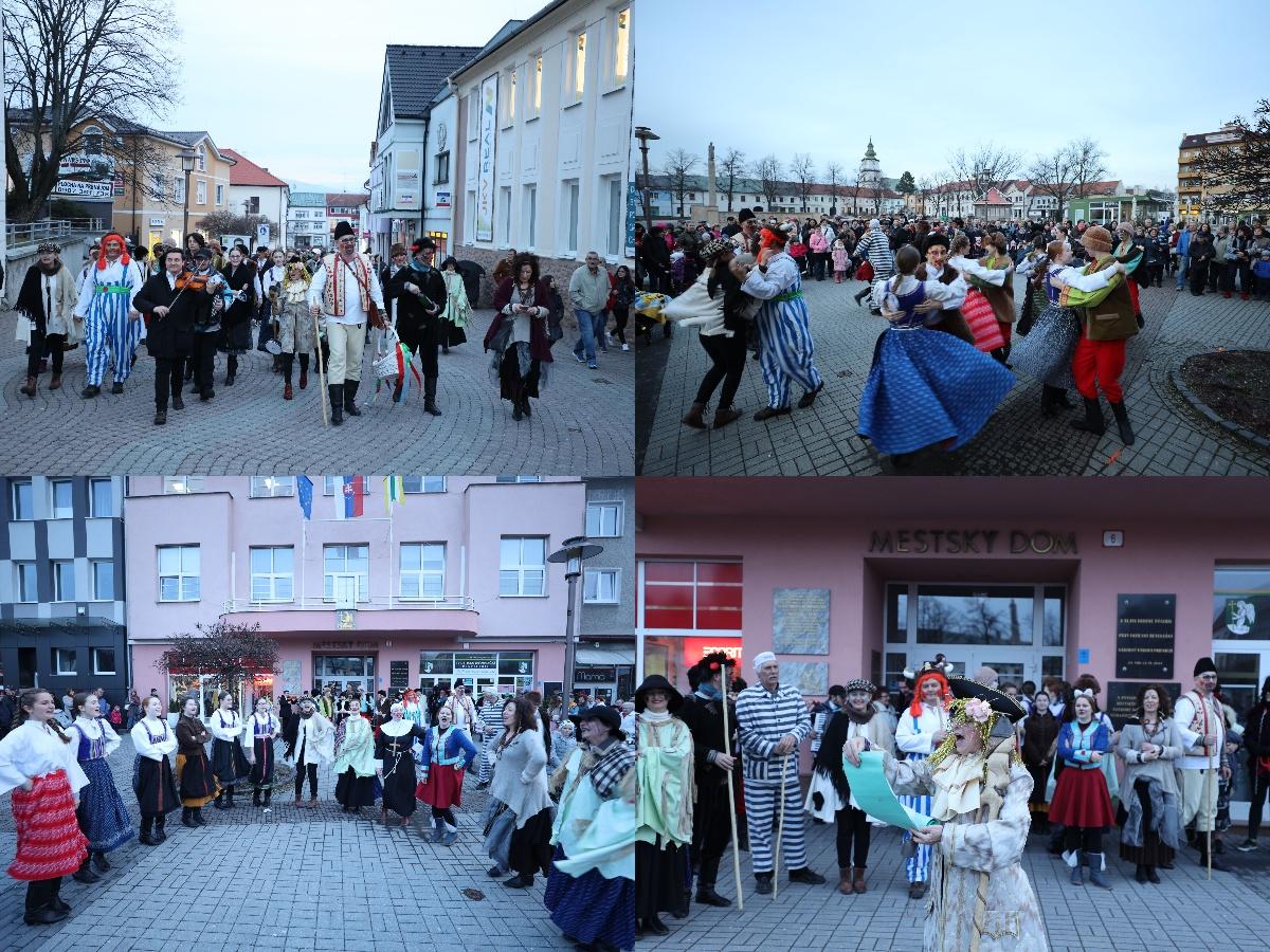 Foto: Fašiangy na námesti v Prievidzi a fašiangový sprievod 2020