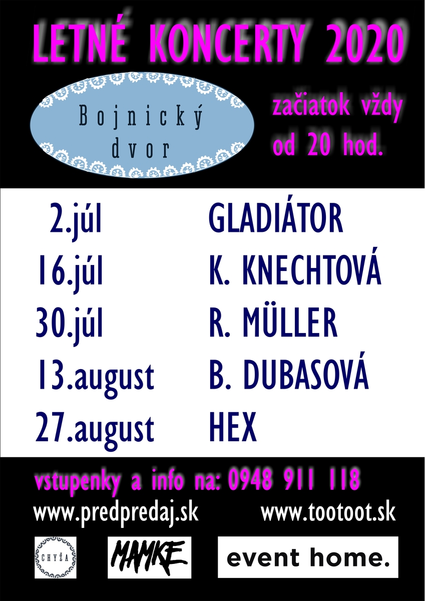 Koncerty Bojnický dvor - Bojnice leto 2020