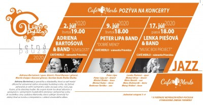 Letná pauza 2020 - jazzové koncerty - Adriena Bartošová, Peter Lipa band, Lenka Piešová