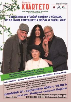 KVARTETO - brilantná komédia – pondelok 21.9.2020 o 18.00 h (za 15.4.) – zakúpené vstupenky zostávajú v platnosti