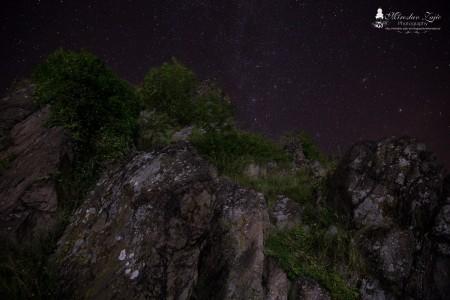 Foto: Hrad Sivý kameň Podhradie - západ slnka a nočná obloha 7
