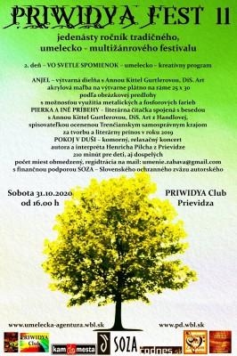 PRIWIDYA Fest 11 – 2. deň jedenásteho ročníka tradičného, umelecko – multižánrového festivalu - PRESÚVA SA NA INÝ TERMÍN