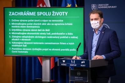 Vláda sa rozhodla: Zákaz vychádzania sa predlžuje do 7. februára. Prvé kolo celoplošného testovania nazýva premiér Igor Matovič skríningom
