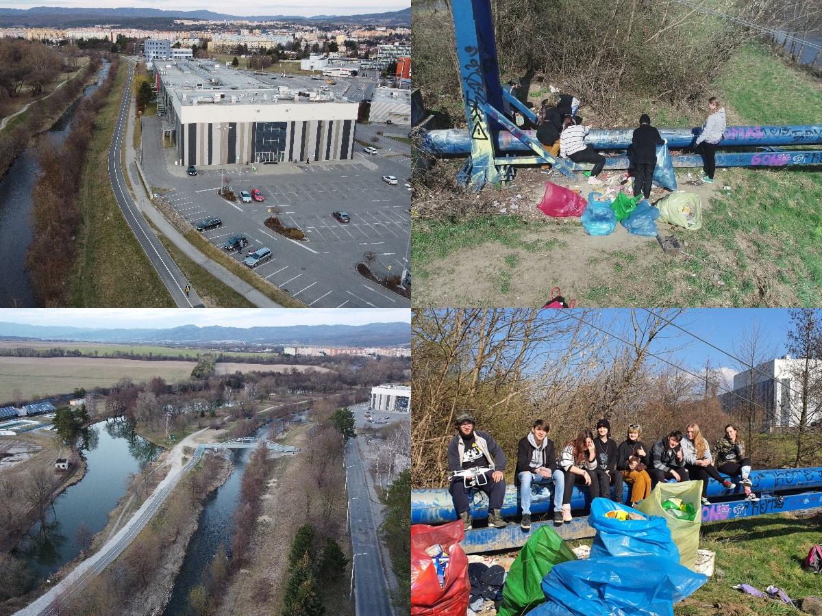 Foto a video: Aj mladí ľudia vedia spojiť sily. Upratali časť brehov a okolia rieky Nitra v Prievidzi