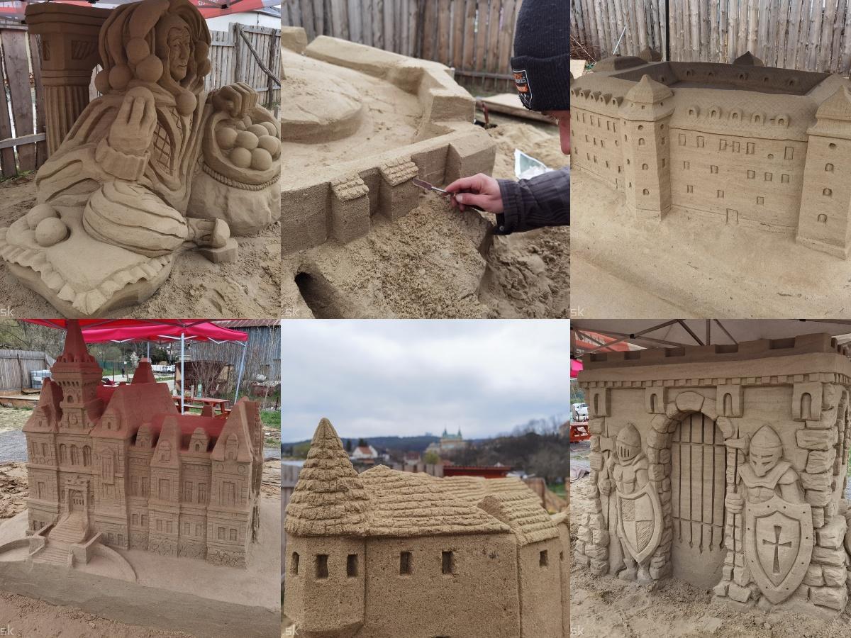 Foto: Pieskové sochy v Bojniciach budú aj tento rok. Práce na nových sochách práve prebiehajú