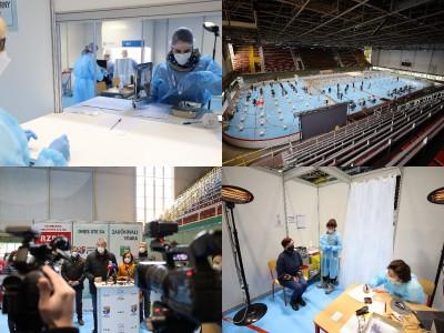 Foto a video: V Prievidzi dnes otvorili veľkokapacitné očkovacie centrum. Tento víkend zaočkujú 2000 ľudí