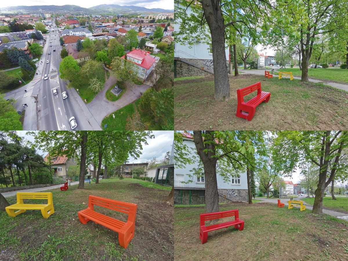 Foto: V Prievidzi vznikla nová oddychová zóna s farebnými lavičkami