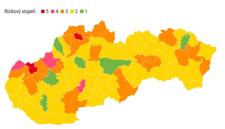 Nové rozdelenie okresov Covid automat od 14. júna. Okres Prievidza ostáva žltý.