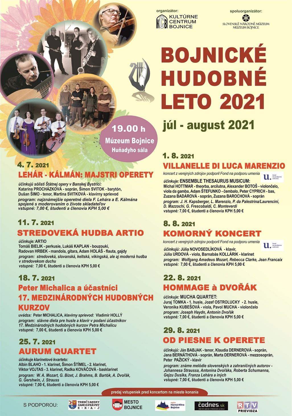 Bojnice: Bonické kultúrne leto 2021 - Koncerty na Bojnickom zámku