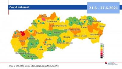 Covid automat: Okres Prievidza ostáva od 21.6 v žltej farbe