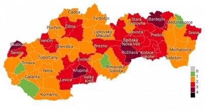 Nový Covid automat: Okres Prievidza ostáva oranžový. V štyroch okresoch bude možno od pondelka po 21. hodine obmedzený pohyb