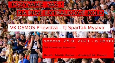 Prvé kolo volejbalová extraliga: VK OSMOS Prievidza - TJ Spartak Myjava