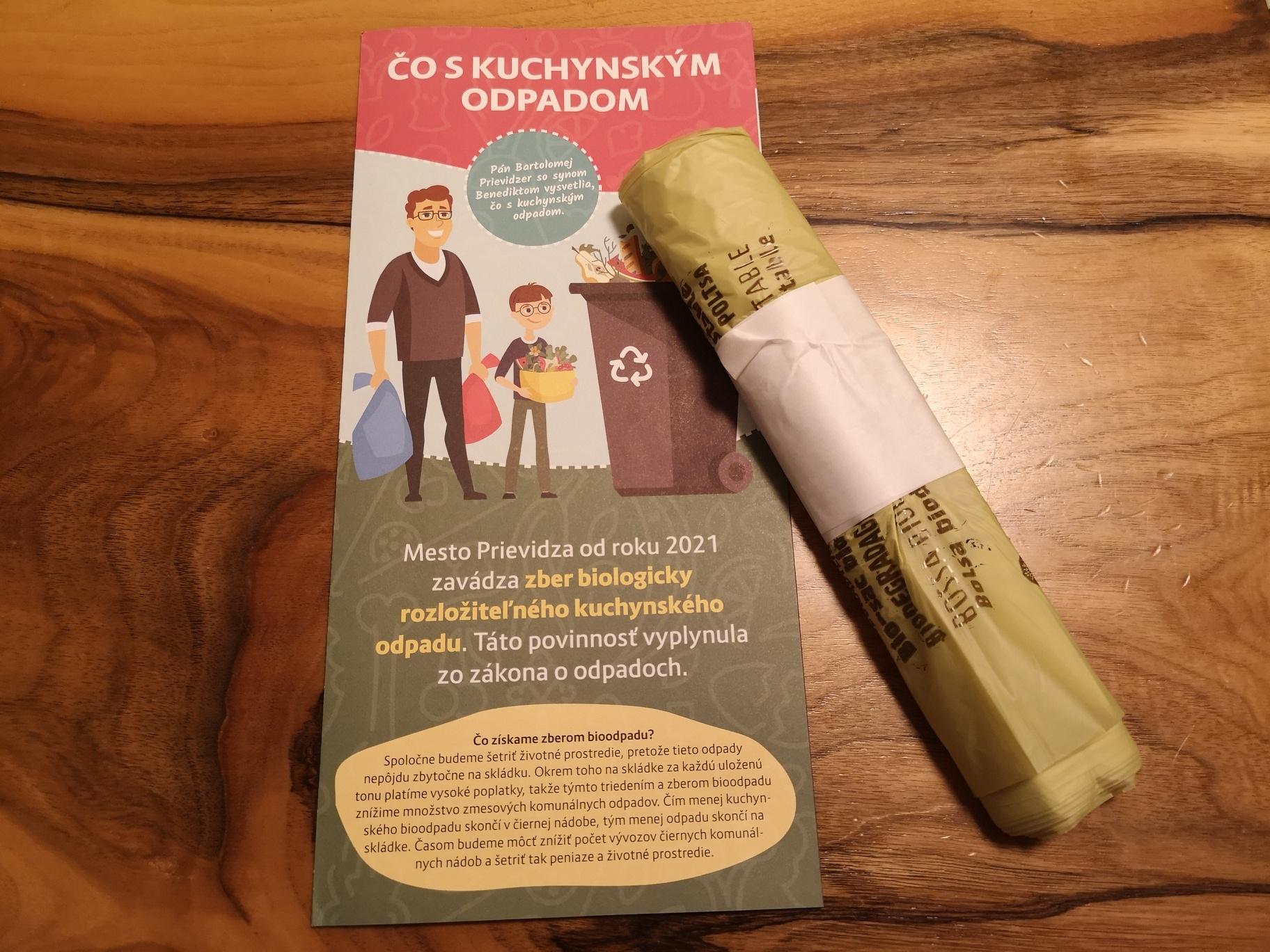 Mesto Prievidza opäť distribuuje vrecká na kuchynský odpad