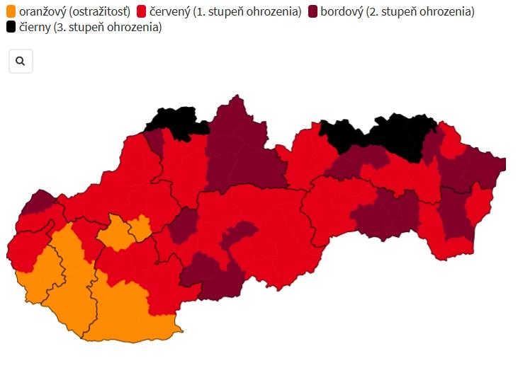 Covid automat: Okres Prievidza bude od 18.10. červený. Na Slovensku sú už prvé čierne okresy