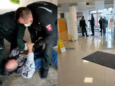 Video: Polícia vyhodila z klientského centra v Prievidzi invalida bez respirátora. Neskôr ho spacifikovala
